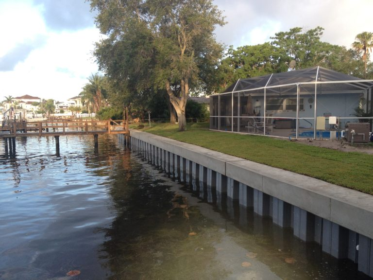 How does the process of seawall installation affect its life span
