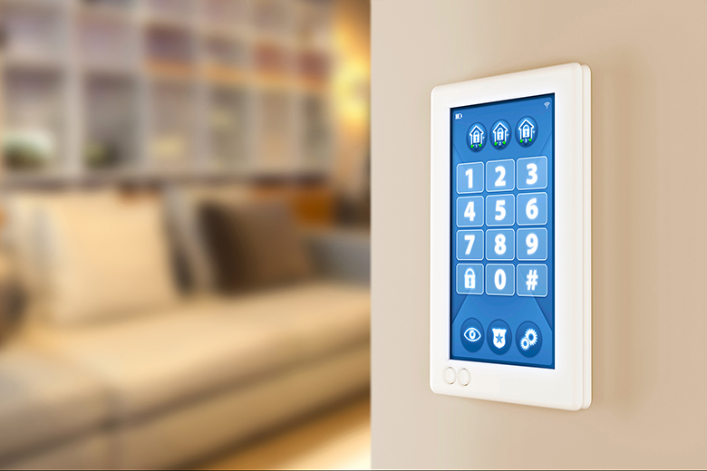 Home alarm system: PIN code number wall keypad