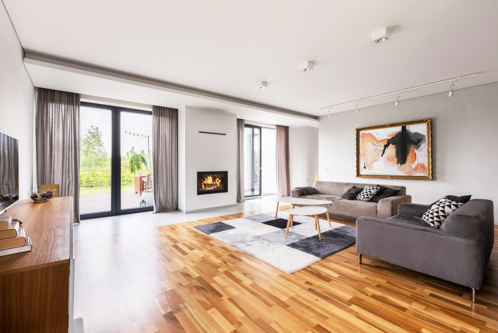 Spacious living room with sofa