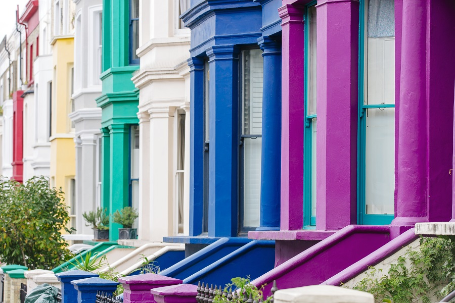 Multi colored vibrant townhouses in Notting Hill, London, England, UK