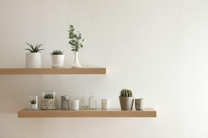 Wooden shelves with plants and decorative elements on light wall